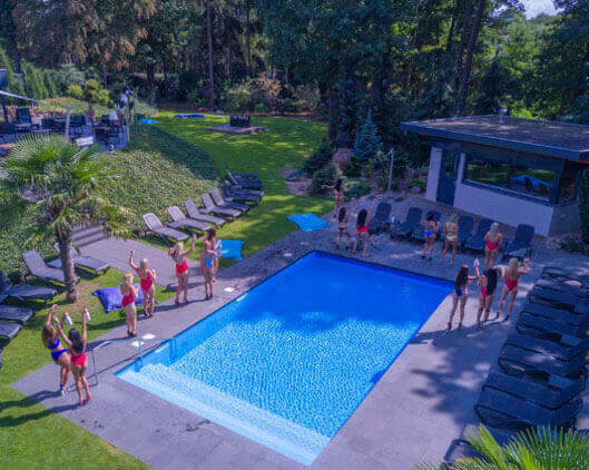 Drone shot of outdoor pool