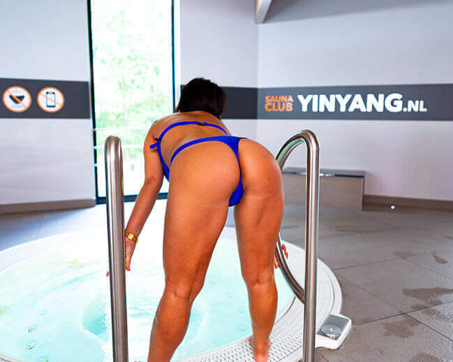 Woman at indoor pool